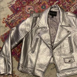 Silver Faux-Leather Jacket